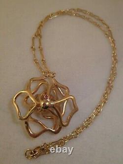 Designer Heavy Roberto Coin Rose Or 1.0ct Diamant Rose Collier 23g