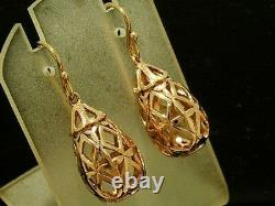 E049 Stunning 9ct Solide Rose Boucles D'oreilles Filigree Drop Or Lourd Et Puffy