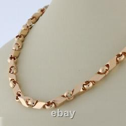Estate Fancy Link Chain Collier 14k Rose Gold Heavy 72.2 Gr Unisex 22