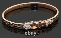Etoile Filante Lourd Or Rose 18k 0.20ct Bracelet Boucle De Ceinture En Diamant