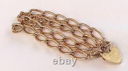 Fabuleux Dames Heavy Antique 9ct Rose Or Double Row Padlock Bracelet 32.2 G