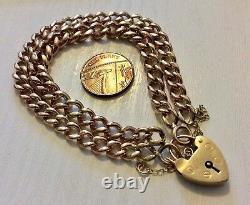 Fabuleux Femmes Très Lourd Antique 9 Carat Rose Bracelet Double Or & Padlock