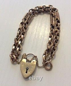 Fabulous Antique Heavy 9 Carat Rose Gold Fancy Double Albert Bracelet & Cadenas