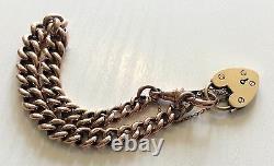 Fabulous Ladies Antique Very Heavy Solid 9ct Rose Gold Bracelet Avec Cadenas