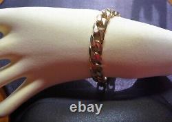 Fabulous Vintage Estate 9ct Rose Gold Heavy Bevelled Curb Link Bracelet Italien