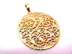 Genuine Heavy Solid 9ct 9kt Rose Gold / 375, Super Grand Pendentif De Filipree Ovale