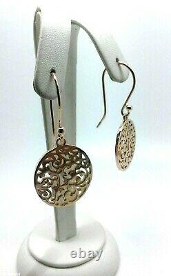 Genuine New Heavy 9ct Solid Rose Gold Filigree Oval Drop Long Hooks Boucles D'oreilles