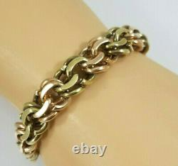 Gros 14k Rose Et Green Gold Curb Link Bracelet 85 Grams! 7 13mm