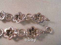 Heavy 10k White Gold Diamond Rose Flower Plumeria Art Déco Tennis Bracelet 7