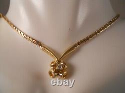 Heavy 14k Yellow Gold Diamond Rose Flower Snake Chain Art Déco Pendentif Collier