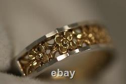 Heavy 14k Yellow Gold White Gold Plumeria Flower Rose Art Déco Band Ring 10.25