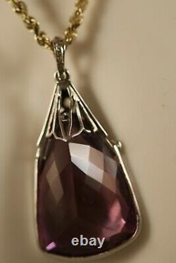 Heavy 18k Blanc Or Rose Coupe Diamant Améthyste Art Déco Collier Pendentif