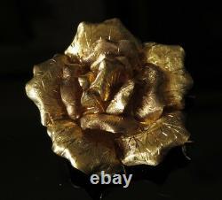 Heavy 18k Gold 2 Grande Fleur De Rose Texturée Clip Broche Florale
