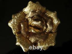 Heavy 18k Or 2 Grande Fleur De Rose Texturée Clip Floral Pin Broche