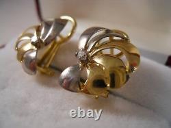 Heavy 18k Yellow White Gold Vs Diamond Rose Flower Sea Shell Boucles D'oreilles Art Déco