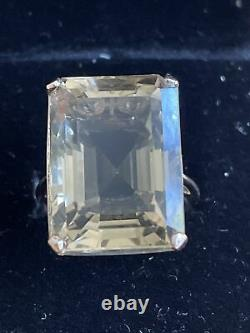 Heavy 1960's 9ct Rose Or Émeraude Coupe Grande Citrine Cocktail Solitaire Anneau O