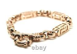 Heavy 29.3grams Nouveau 9ct Rose Gold Solid Belcher & Greek Key Bracelet