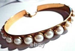 Heavy Antique 14k Rose Gold Cuff Pearl Bracelet 8.5 Heavy 26.5glast Chance