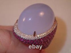 Heavy Énorme Designer Gjr 18k Rose Gold 33.55ct Chalcedony Bague Rubis Diamant 20.2g