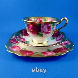 Heavy Gold Edge Old English Rose Royal Albert Tea Cup, Soucoupe Et Plate Trio Set