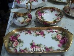 Heavy Gold Royal Chelsea Golden Rose Sugar Creamer & Tray Jamais Utilisé