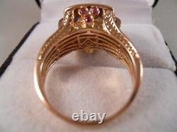 Heavy Levian 14k Rose Gold Smokey Quartz Chocolate Diamond Ruby Art Déco Ring