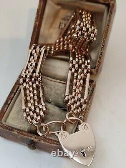 Heavy Victorian 9ct Rose Gold Gate Bracelet 4 Bar Lien De Fantaisie