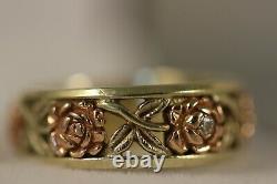 Heavy Vintage 14k Yellow Gold Diamond Rose Flower Art Déco 3/4 Eternity Ring