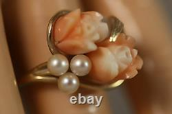 Heavy Vintage 14k Yellow Gold Pink Angel Skin Coral Pearl Rose Flower Ring 6,5