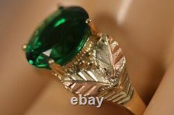 Heavy Wide Coleman 10k Jaune Rose Or Collines Noires Or Vert Cz Fleur Anneau