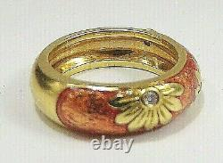 Hidalgo 18k Or Jaune Avec Rose Couleurs & Diamants De Fleurs 10 Gr Heavy Sz 6 Anneau