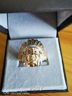 Hommes Chef Indien Rouge 14k Heavy Ring 11g Jaune, Rose Or Blanc Gemme Taille Z