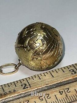 Huge Vintage 18k Jaune Et Rose Or World Globe Pendentif Charm Heavy, Scientific