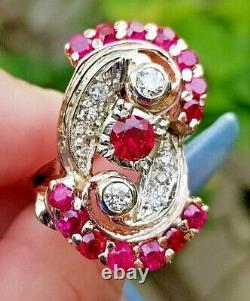 Huge Vintage Ruby Diamond Heavy 14.8 Grammes 14k Rose Bande D'or