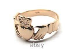 Kaedesigns New Size T 9ct Heavy Rose Gold Large Irish Claddagh Ring