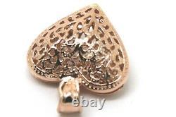 Kaedesigns Nouveau Heavy 9ct Rose Gold Moyen Filigre Coeur Pendentif