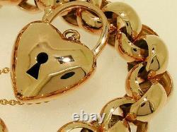 L01 Solid 9ct Rose Gold Belcher Heart Padlock Bracelet Heavy 45gr 19cm De Long