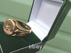 Large Heavy 9ct Rose Gold Diamond Signet Rétro Bague H/m 1913 Taille Z+1 / Z+2