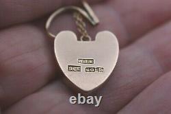 Large Heavy Victorian 9ct Rose Gold Heart Padlock Charm Pour Bracelet+ Chain 3.5g
