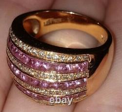 Levian 14k Rose Saphir & Diamant Rose Or Bague Lourde