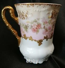 Limoges Demitasse Cup & Soucoupe Heavy Hand Éameled Or Et Roses C. 1900