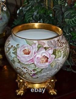 Limoges Jardiniere Roses Roses Lourdes Or Et Or Incrusté Plinthe