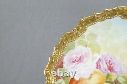 Limoges Peints À La Main Roses Roses Lauriers Fruits Or Lourd 10 3/8 Inch Assiette