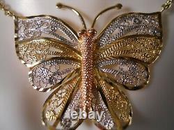 Lourd 10k Jaune Rose Blanc Or Diamant Coupé Papillon Papillon Pendentif Collier 17
