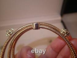 Lourd 18k Rose Et Or Blanc 0.87ct Bracelet Manchette Diamant 25.4g Taille 6 3/4