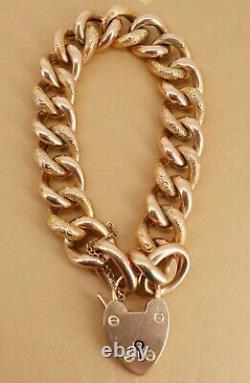 Lourd 27gr Victorian / Edouardian 9ct Bracelet En Or Rose (courbe) Gravé. Superbe