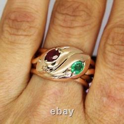 Lourd Antique Ruby & Emeraude Double Serpent 9ct Rose Or Taille De La Bague V 10 3/4