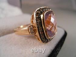 Lourd Levian 14k Rose Gold Amethyst Champagne Chocolate Diamond Art Déco Ring