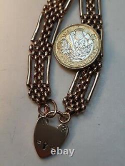 Lourd Victorian 9ct Rose Gold Gate Bracelet 4 Bar Fantaisie Chaîne Lien