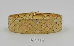 Lourd Vintage Italien Tri-color 18k Rose & Or Jaune Lien Bracelet 7 3/8
